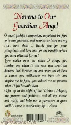 Novena to Our Guardian Angel Prayer Card.oh how I often forget this constant friend of mine. < I have heard we all have 2 guardian angels apiece. Catholic Religion, Catholic Quotes, Religious Quotes, Catholic Churches, Catholic Books, Holy Mary, Novena Prayers, Orthodox Prayers, Guardian Angels