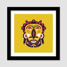 Kuba Face Mask Yellow Premium Square Italian Wooden Frames   Artist : Designerchennai