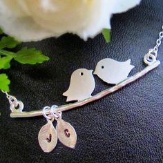 Sterling silver personalized birds necklace  $350 / US $24