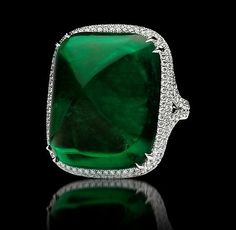 A 40-carat sugarloaf emerald ring by Bayco.
