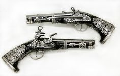 Pair of Miquelet Flintlock Pistols Gunsmith: Signed by Francisco Pintan (active mid-18th century) Date: dated 1757 Culture: Colonial Spanish, probably Mexico