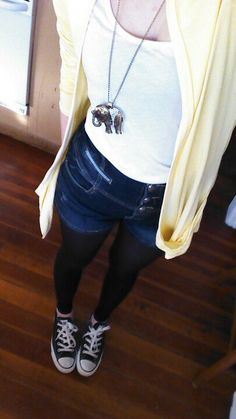 Outfit: high waisted shorts and tights