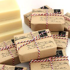 Clever idea to wrap your handcrafted soaps for the traveler in your life!
