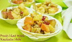Seasonal Fruit Chat With Kachalu Do you need a reason to enjoy  chaat?? #fruit #chaat #taroroot #kachalu #arbichaat #chatpatichaat #Indian #fruitsalad Recipe at:: www..annapurnaz.in