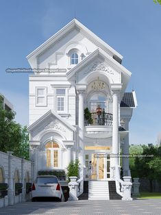 The classical exterior design style is timeless and never goes out of style. Classic House Exterior, Classic House Design, Dream House Exterior, Dream House Plans, Modern House Design, House Front Wall Design, Bungalow House Design, House Construction Plan, Small Villa