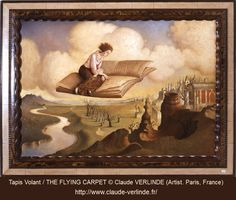 Tapis Volant, 1982 / THE FLYING CARPET © Claude VERLINDE (Artist. Paris, France). Artist site: http://www.claude-verlinde.fr/ Fantastic Realism, Magic Realism, Surreal Art. Fantasy. Woman reading as she sits on a flying book that soars over a surreal countryside.