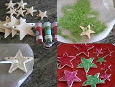 décoration sapin de Noël originale et créative - des étoiles pailletées en pâte à sel