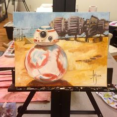 I really hope I like this little droid. #BB-8 #starwars #TheForceAwakens #droid #painting #oilpainting #artwork #fanart #geek #starwarsart #starwarsfan #episodeVii