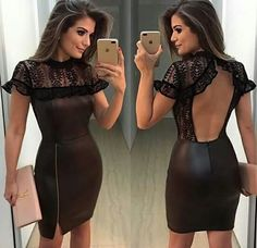 Render of leather + { ♥ ️} has more beautiful combination of textures ? In Love 😍 Pretty Short Dresses, Elegant Dresses, Sexy Dresses, Beautiful Dresses, Fashion Dresses, Summer Dresses, Classy Dress, Classy Outfits, Look Fashion