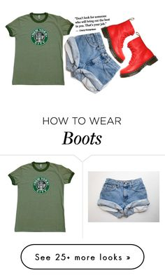 """red boots"" by supersquirrelgirlq on Polyvore featuring American Apparel and Dr. Martens"