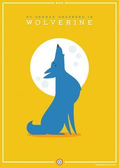 My German Shepherd is Wolverine. The League of Extraordinary Doggies #illustration #vector #design #flatdesign #adobe #illustrator #comic #cartoon #poster #film #logan #superhero #xmen #marvel #lobezno #patrullaX #HughJackman #dog #GermanShepherd #Alsatian #AlsationWolfDog #DeutscherSchaferhund #Schaferhund #doggie #puppy #pet #cute www.juanmamartinez.com