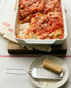Ricotta Manicotti with Tomato Sauce Recipe | Cooking | How To | Martha Stewart Recipes