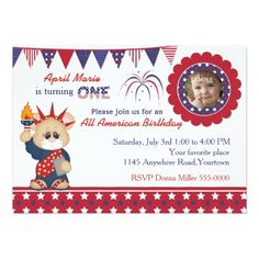 4th of July 1st Birthday Photo Card