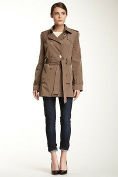 Calvin Klein // Belted Double Breasted Trench Coat.