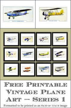 """Free Printable Vintage Plane Art - Series 1. Formatted to be printed for an 8"""" x 10"""" or 11"""" x 14"""" frame. www.simplymadebyrebecca.wordpress.com"""