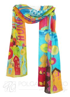 Hand Painted Hundertwasser - 'Inspired by' -  Silk Scarf. Green Orange Blue Red. Long Scarf. READY TO SHIP.