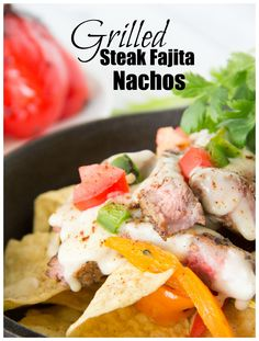 Tex-Mex Recipe | Grilled steak, sweet peppers and spicy jalapeno are piled on crunchy tortilla chips and then drenched in a cheesy ale based Mornay sauce.