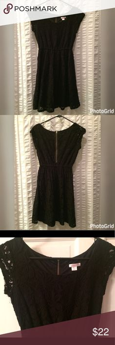 Black lace Xhilaration dress Black lace dress falls just above the knee and has gold zipper detail on the back. Perfect for dressing up or down! Some signs of wear. Xhilaration Dresses Mini