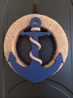 Riviera Gold- Riviera Gold Anchor and Jute Wreath, Nautical Wreath, Anchor Wreath by SouthHouseDesign on Etsy - Anchor Wreath, Nautical Wreath, Nautical Party, Vintage Nautical, Deco Theme Marin, Kwanzaa, Beach Crafts, Kids Crafts, Deco Marine