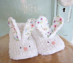 Bunny Slippers Sewing Pattern  PDF   size 12 months by winterpeach, $4.50