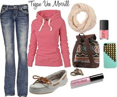 Cute for spring or fall. Jeans, white sperrie type shoes with and pink hoodie.