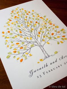 Large Birch Tree, The original hand-drawn guest book fingerprint tree (ink pads sold separately)