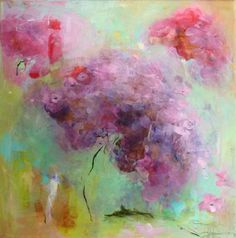HYDRANGEAS Original Abstract Painting on stretched by Paulina722