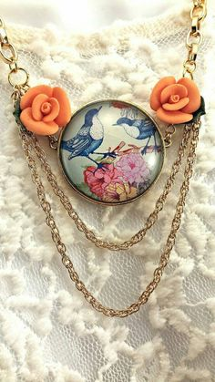 Check out this item in my Etsy shop https://www.etsy.com/listing/214406932/bird-necklace-flowers
