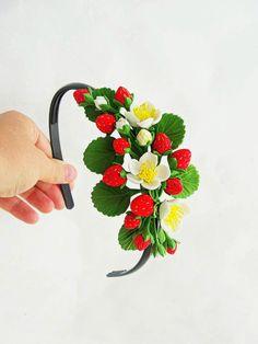 Strawberry headband baby strawberry little flower girl