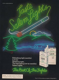 Items similar to 1979 Salem Lights Cigarette Ad Neon Lights Retro Smoking Advertisement Print Bar Wall Art on Etsy Vintage Cigarette Ads, Pub Vintage, Print Advertising, Ways To Save Money, Vintage Advertisements, Over The Years, Childhood Memories, Neon Signs, Smoke