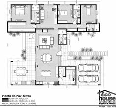 Another excellent plan. So many windows I might need sunglasses to eat breakfast. House Plans One Story, Dream House Plans, Modern House Plans, Small House Plans, House Floor Plans, Home Design Plans, Plan Design, Modern Villa Design, Villa Plan