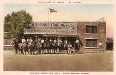 A 1936 postcard showing the Trading Post at Peach Springs,  Arizona
