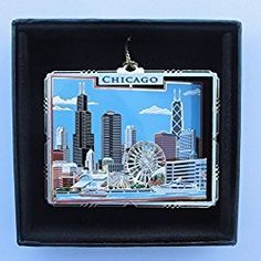 Chicago Christmas Ornament Chicago Brass Christmas Ornament Black Leatherette Gift Box