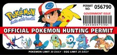 Pokemon Hunting Permit Funny Bumper Car Fridge Wall Stickers Bumper Stickers, Wall Stickers, Pokemon, Hunting, Car, Funny, Prints, Kids, Bumper Stickers For Cars
