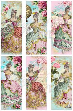 Marie  set of 6 bookmarks  digital collage  by bydigitalpaper, $4.45
