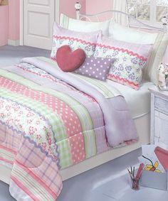 Purple & Green Stripe Sofia Comforter Set #zulily #zulilyfinds