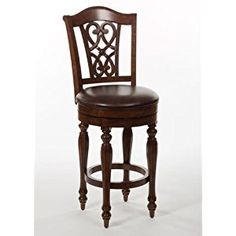 Hillsdale Furniture Completely KD Hamilton Park Swivel Counter Stool with Scroll Back, Brown