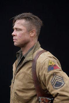 Wondrous Brad Pitts Fury Hairstyle Brad Pitt Military And The Ojays Hairstyle Inspiration Daily Dogsangcom