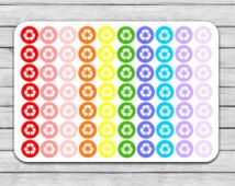 Recycle Planner Stickers, Recycling Planner Stickers, Recycle Stickers, Icon Stickers, Dot Stickers, Erin Condren, Life Planner, Functional