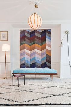 Wall Decoration Idea:  Hang Quilts Instead of Canvases: chevrons zig zag quilt