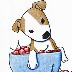 PIT BULL Dog Original Art Illustration Cherries by KiniArt on Etsy, $125.00