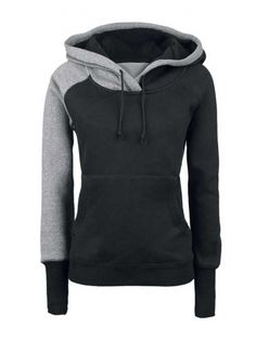 Loose Leisure Color Contrast Hoodie for Women Black