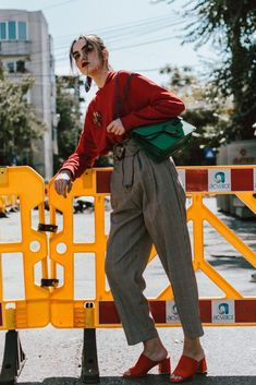 Mango high waisted checked trousers, na-kd red hoodie, public desire orange suede heeled mules, h&m exaggerated hoop earrings, huge hoop earrings, gold earrings, hoops, statement earrings, green gucci suede dionysus lookalike bag, emerald bag, orange red and green outfit combination, andreea birsan, couturezilla, cute fall outfit ideas 2017, green suede shoulder bag, checked trousers, check print pants, high waist trousers, how to wear the high waisted trousers trend, granny pants, how to…
