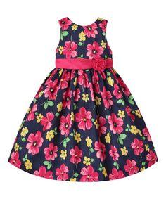 Love this Navy & Pink Floral Rosette A-Line Dress - Infant, Toddler & Girls on #zulily! #zulilyfinds