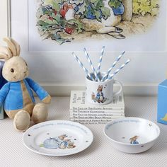 Discover Peter Rabbit Boys Set direct from Wedgwood. Luxury English style since 1759 Peter Rabbit Party, English Style, David Jones, Wedgwood, Mugs Set, Bone China, 3 Piece, Your Favorite, Christmas Gifts