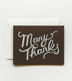 Screen printed Many Thanks Card by Rifle Paper Co.