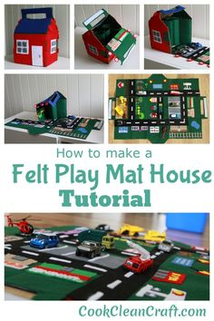 Cats Toys Ideas - How to make Felt Car Play Mat that folds into a house - Tutorial by Cook Clean Craft - Ideal toys for small cats Sewing Projects For Kids, Sewing For Kids, Diy For Kids, Free Sewing, Felt Projects, Car Play Mats, Car Mats, Felt Play Mat, Felt House