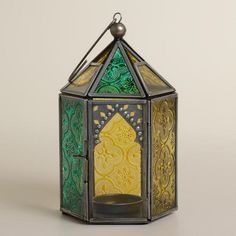 One of my favorite discoveries at WorldMarket.com: Cool Multicolor Sabita Embossed Glass Tabletop Lantern