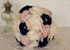 Fabric Flower Bouquet Lace Bridal Bouquet by MyVintageWeddingAust