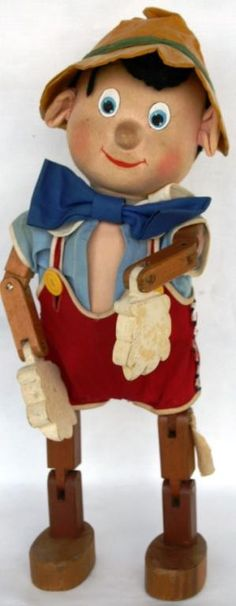 "WALT DISNEY JOINTED WOODEN PINOCCHIO DOLL      BY RICHARD G. KRUEGER, ALL ORIGINAL, 15 1/2"" H"